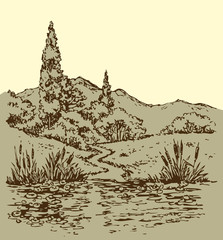 Summer landscape: trail from forest to stream. Vector sketch