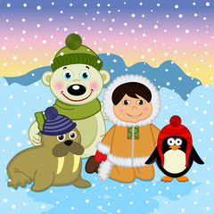Eskimo boy with arctic animals - vector illustration, eps