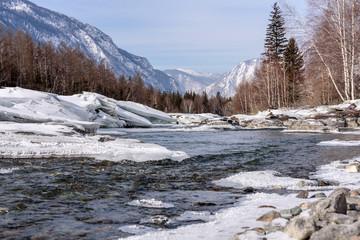 river mountain ice snow stones