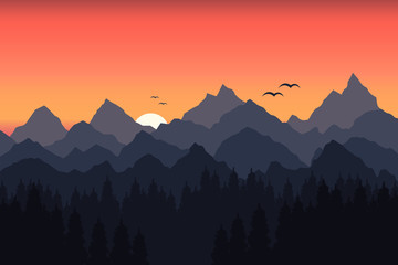 Vector illustration of sunset in the mountains
