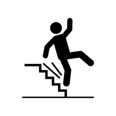 Man falling down from stairs icon illustration