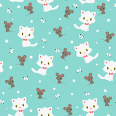 White kitten and gray mouse seamless pattern