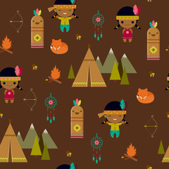 American indian clipart seamless wallpaper