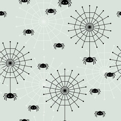 Seamless wallpaper with spiders and spider webs