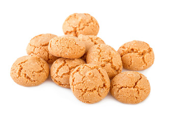 Amaretti cookies isolated on white. Amaretti traditional italian biscuits.