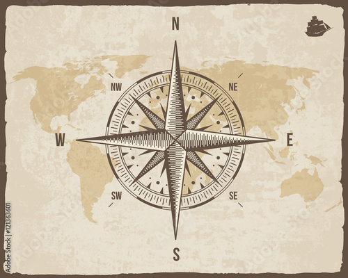 Vintage nautical compass old world map on vector paper texture with old world map on vector paper texture with torn border frame gumiabroncs Gallery