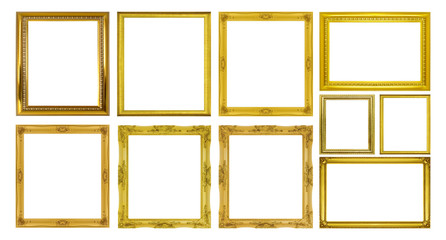 Set golden frame isolated on white background
