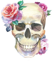 Watercolor tattoo concept with skull element isolated. Tattoo sketch art concept with wildflowers on it. Could be used for tattoo, sticker, background, texture, pattern, frame or border.