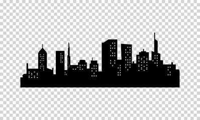 Vector City Silhouette. Black color. Panorama of Megapolis . Skyscrapers in the Night with Lights in the Windows