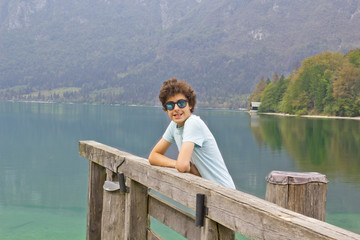 Happy boy at the bohinj lake,Slovenia