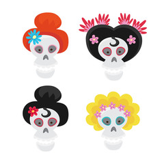 Set with colorful skulls for day of the dead. Sugar skuuls for m