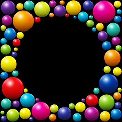 Colorful balls - black round frame in the middle.