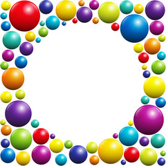 Colorful balls forming a circular frame with white center - isolated vector illustration on white background.