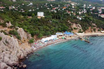 beautiful panorama of southern coast of Crimea and municipal peb