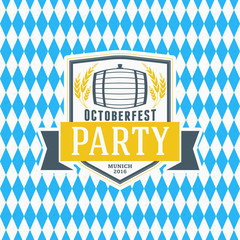 Beer festival Octoberfest celebration. Retro style badge, label, emblem on blue and white rhombus background. Vector illustration. Beer label template