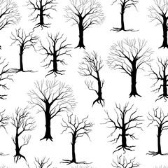 Seamless pattern with black silhouettes of trees on a white background