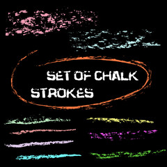Vector chalk lines. Chalk hand drawn strokes. Vector hand drawn illustration