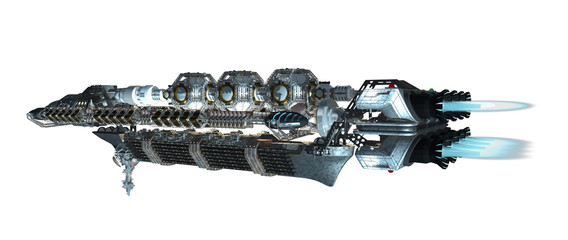 3d illustration of an interstellar spaceship with fired propulsion jets for futuristic deep space travel or science fiction backgrounds, with the clipping path included in the file
