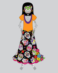 Day of the Dead or Halloween Skeleton Woman in Vector Format