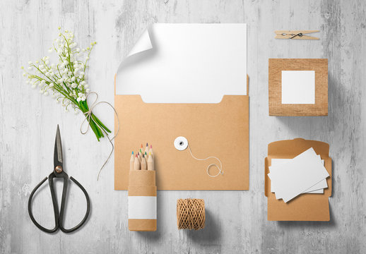 Natural Paper Stationery Mockup 1
