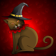 Cute brown cat wearing a witch's hat. Halloween vector illustration.