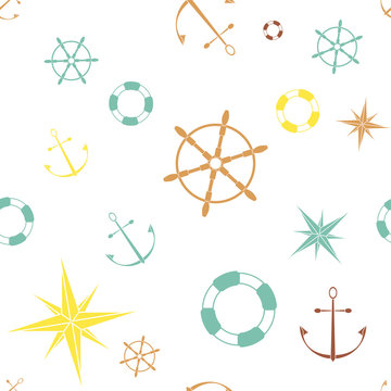 Seamless pattern with anchors stars compasses lifebuoys and wheels