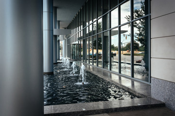 Fountains and modern building in Uptown Charlotte, North Carolin
