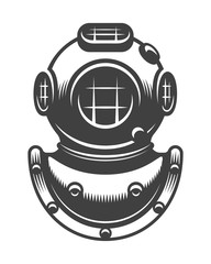 Vintage nautical diving helmet Monochrome style isolated