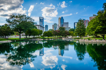 The skyline of Uptown Charlotte, and lake at Marshall Park, in U Wall mural