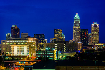 View of the skyline of Uptown at night, in Charlotte, North Caro