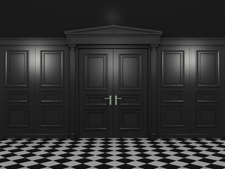Black closed double doors classic style in a dark interior. 3d illustration in high resolution