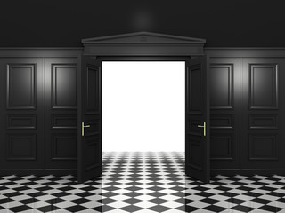 Black open double doors classic style in a dark interior. 3d illustration in high resolution