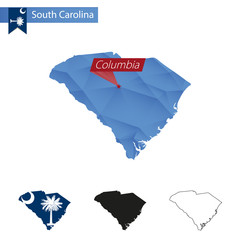 State of South Carolina blue Low Poly map with capital Columbia.