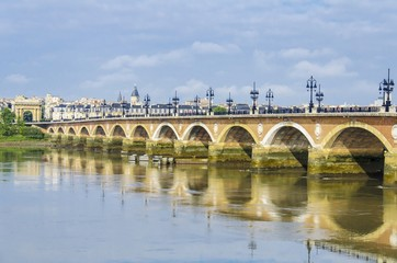 Pont de pierre or Stone Bridge, a bridge in Bordeaux, France on Garonne River