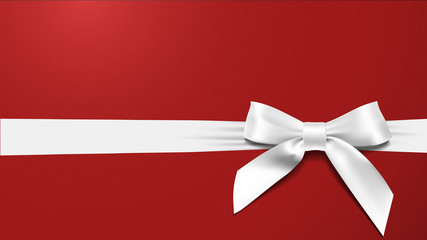 realistic White bow on a red background