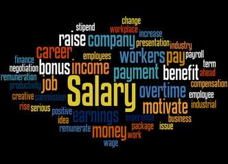 Salary, word cloud concept
