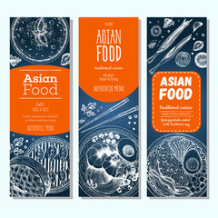 Asian food vertical banner set. Vector illustration of asian food banner collection. Linear graphic
