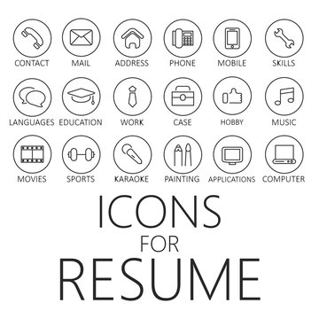 Thin line icons pack for CV, resume, job