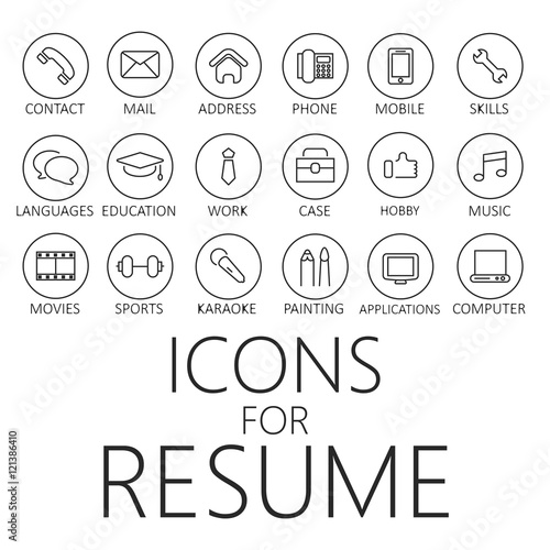 u0026quot thin line icons pack for cv  resume  job u0026quot  fotos de
