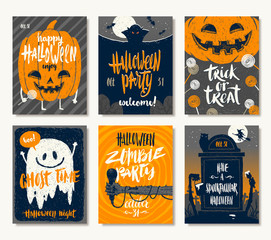 Vector set of Halloween holidays hand drawn invitation or greeting card with handwritten calligraphy greetings, words and phrases.