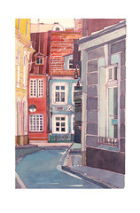 Hand drawn colorful buildings by watercolor