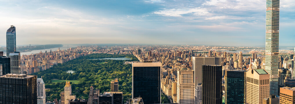 """Panorama cityscape view on Central Park, New York, seen from the Rockefeller building """"Top of the Rocks"""" before summer sunset."""