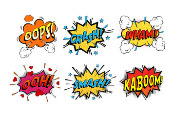 Onomatopoeia comics sounds in clouds for emotions