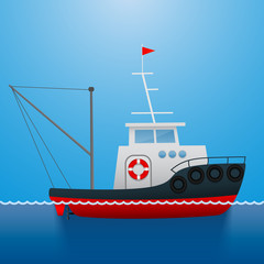 Tugboat. Fisherman ship. Cartoon style. Marine theme. Funny picture. Vector Image.