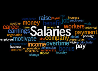 Salaries, word cloud concept 7