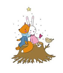 Fox, rabbit and bird sitting on a tree stump.