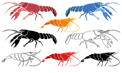 Isolated silhouettes of crayfish and shrimp. In different colors.
