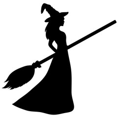 Young witch with a broom silhouette