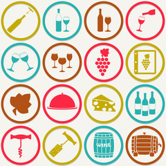 Wine icons set. Design elements for restaurant, food and drink. Colorful vector illustration.