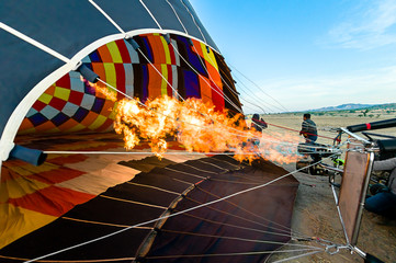 Poster Montgolfière / Dirigeable Balloon, inside view of a hot air balloon being inflated